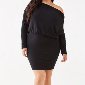 Black One Shoulder Sweater Dress Forever 21 Plus